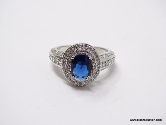 .925 STERLING SILVER LADIES 1 1/2 CT SAPPHIRE COCKTAIL RING. SIZE 8.