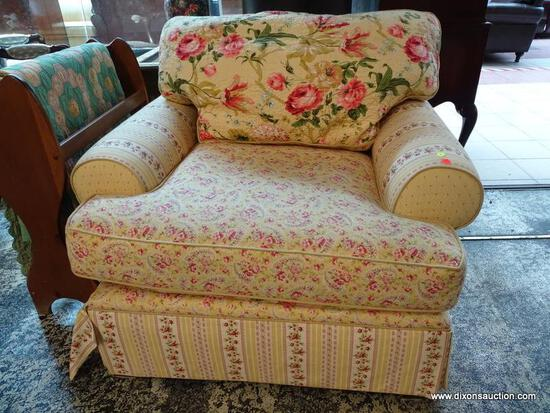(R1) SAMUEL FREDERICK FINE FURNITURE CO. FLORAL UPHOLSTERED ARM CHAIR WITH LABEL. MEASURES 43 IN X