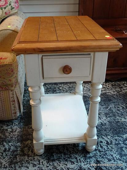 (R1) OAK AND WHITE PAINTED SINGLE DRAWER END TABLE WITH TURNED LEGS AND A LOWER SHELF. IS 1 OF A