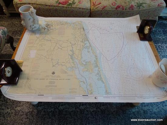 (R1) UNFRAMED PAPER MAP OF CAPE HENRY TO CURRITUCK BAY. MEASURES APPROXIMATELY 3 FT 8 IN X 2 FT 10