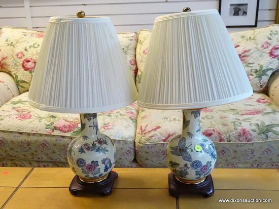 (R1) PAIR OF BUTTERFLY THEMED ORIENTAL STYLE LAMPS WITH SHADES AND ROSEWOOD BASES. EACH MEASURES