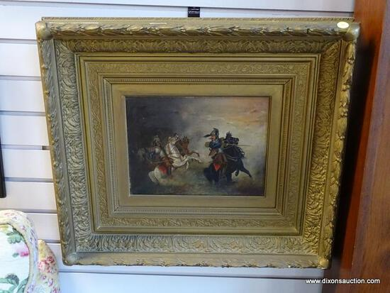 (R1) ANTIQUE OIL ON CANVAS OF A PAIR OF CALVARY MEN FIGHTING WITH SWORDS IN AN ANTIQUE GOLD TONE