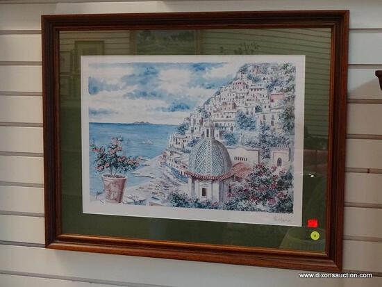 (R1) FRAMED AND MATTED PRINT OF A (POSSIBLY GREEK) WATERSIDE VILLAGE SCENE. IS SIGNED POSITANO. IS