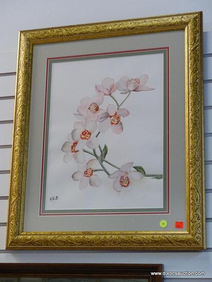 (R1) FRAMED AND TRIPLE MATTED CHERRY BLOSSOM PRINT IN A GOLD TONE FRAME. IS SIGNED V.C.C. MEASURES