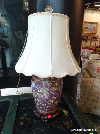(R1) PURPLE AND BIRD THEME ORIENTAL GINGER JAR STYLE LAMP WITH ROSEWOOD BASE AND CLOTH SHADE WITH