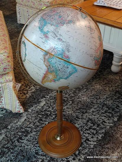 (R1) REPLOGLE GLOBE OF THE WORLD FROM THE WORLD CLASSIC SERIES ON MAPLE STAND. MEASURES 16 IN X 37