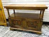 (R1) MAHOGANY SERVER WITH LOWER SHELVING AREA AND 2 LOWER DOORS. WITH TOP OPEN MEASURES 80 IN X 18