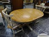 (R1) MAPLE AND CREAM PAINTED PEDESTAL BASE DINETTE TABLE WITH ONE 18