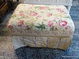 (R1) SAMUEL FREDERICK FINE FURNITURE CO. FLORAL UPHOLSTERED OTTOMAN. MEASURES 33 IN X 27 IN X 19 IN.