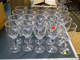 (R1) LOT OF 22 PLASTIC WINE STEMS IWTH BLUE ACCENT IN THE CENTER OF THE STEM. ITEM IS SOLD AS IS