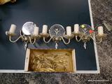 (R1) LOT OF 3 DOUBLE LIGHT WALL SCONCES WITH CRYSTAL PRISM ACCENTS. EACH MEASURES 9 IN X 8 IN. ITEM