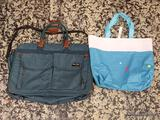 (R1) 2 BAG LOT TO INCLUDE A CLOTH GROCERY STYLE BAG AND AN AMERICAN TOURISTER GREEN LUGGAGE BAG.