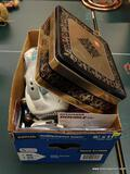 (R1) BOX LOT OF ASSORTED ITEMS TO INCLUDE A BLACK & DECKER HAND VACUUM, A BOX OF HOME CENTER PUSH