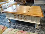 (R1) OAK AND WHITE PAINTED SINGLE DRAWER AND DOUBLE LIFT TOP COFFEE TABLE WITH INTERIOR STORAGE.