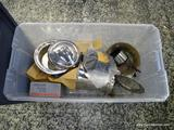 (R1) TUB LOT OF ASSORTED ITEMS TO INCLUDE SILVER PLATE ITEMS, A KITCHEN AIDE PASTA MAKER, A MINI