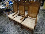 (R1) SET OF 6 OAK DINING CHAIRS WITH UPHOLSTERED SEATS. 2 ARE ARMS AND 4 ARE SIDES. ARMS MEASURE 24