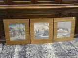 (R1) SET OF 3 HAND PAINTED CHINESE SCENES IN WINTER (1 IS OF A GARDEN, 1 IS OF A HOUSE, AND 1 IS OF