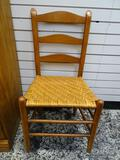 (R1) CHERRY MULE EARRED AND WOVEN SEAT SIDE CHAIR. MEASURES 18 IN X 17 IN X 36 IN. ITEM IS SOLD AS