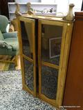 (R1) ANTIQUE 2 DOOR OAK CABINET WITH QUEEN ANNE LEGS (1 NEEDS TO BE REATTACHED AND 1 IS MISSING).