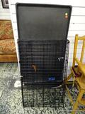 (R2) SMALL - MEDIUM SIZE DOG CAGE WITH LOWER FLOOR PAN. ITEM IS SOLD AS IS WHERE IS WITH NO