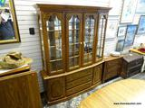 (R1) JAMESTOWN STERLING FURNITURE CO. SOLID OAK 2 PIECE CHINA CABINET WITH 3 INTERIOR GLASS SHELVES