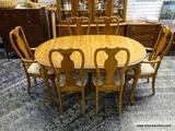 (R1) SOLID OAK DINING SET TO INCLUDE A SOLID OAK QUEEN ANNE DINING TABLE WITH TWO 20 IN LEAVES AND 6
