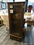 (R1) OAK GUN CABINET WITH ROOM FOR 6 RIFLES/SHOTGUNS/OR ANY OTHER LONG BARREL FIREARM AS WELL AS A