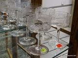 (R1) SET OF 6 ETCHED GLASS SHERRY GLASSES. ITEM IS SOLD AS IS, WHERE IS, WITH NO GUARANTEE OR
