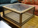 (R1) PINE AND GLASS DISPLAY BOX WITH PLANK BOTTOM AND 3 GLASS SIDES (1 SIDE IS OPEN FOR EASY