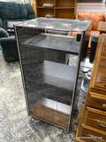 FISHER WOOD AND GLASS STEREO CABINET. CABINET IS LAMINATE WITH MARK AND STAIN RESISTANT VINYL