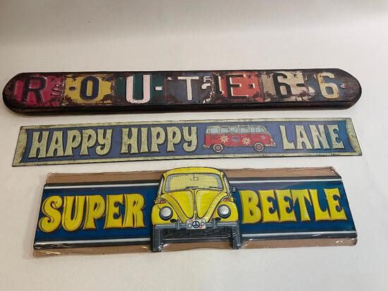 DECORATIVE ROAD SIGNS INCLUDING ROUTE 66 (WOOD), HAPPY HIPPY LANE (METAL, W/ VOLKSWAGEN BUS) AND