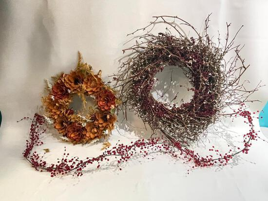 (S11K) COUNTRY CHIC TWIG & DRIED FLORAL WREATHS AND BEADED GARLAND. LARGE WREATH IS 18 INCHES
