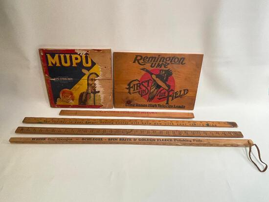 (S12L) VINTAGE WOODEN ADVERTISING SIGNS & YARDSTICKS INCLUDING REMINGTON FIRST IN THE FIELD LONG