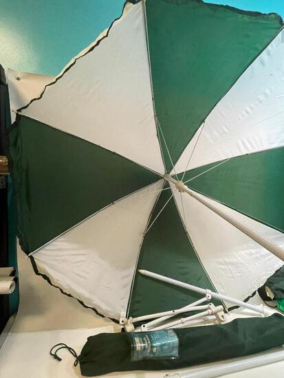 (S12L) NORTH CREST 50 INCH OUTDOOR UMBRELLA WITH ADAPTER SHADE FOR FOLDING LAWN CHAIRS