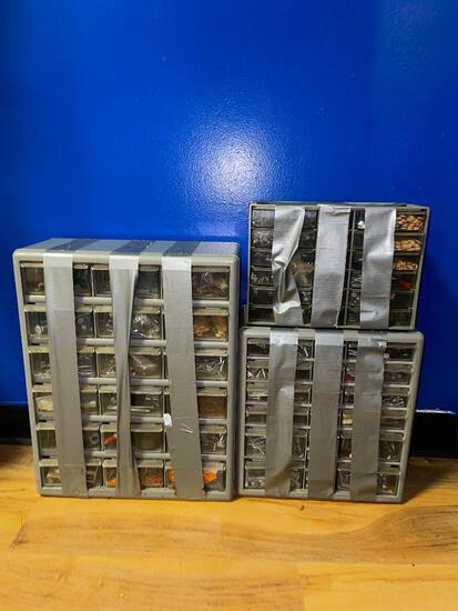 (S12L) THREE HARDWARE MINI DRAWER CHESTS PLASTIC. ONE IS 18 DRAWERS, TWO ARE 30 DRAWERS, ALL ARE