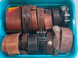 (S15O) ASSORTED TOOLED LEATHER BELTS, MEN'S GENUINE LEATHER BELTS, INDIAN HEAD NICKEL BELT AND MORE