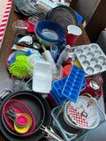 (S14N) HUGE LOT OF KITCHEN WARES INCLUDING BAKING PANS, COOKWARE, KITCHEN AID WATER KETTLE, ICE CUBE