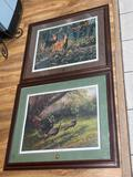 (S14N) PAIR OF NATIONAL WILD TURKEY FEDERATION PRINTS WITH MEDALLIONS, PROFESSIONALLY FRAMED &