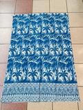 (S14N) SCREEN PRINTED COBALT BLUE & WHITE UPHOLSTERY TAPESTRY FABRIC EXOTIC PALMS APPROX DIMENSIONS
