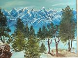 (S15O) BOB ROSS STYLE OIL ON CANVAS PAINTING OF SNOWY MOUNTAIN TERRAIN; OVERALL DIMENSIONS: 30.5W X