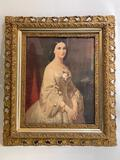 (S15O) ERICH CORRENS PORTRAIT COLOR LITHOGRAPH 'SOUTHERN BELLE' IN ORNATE VICTORIAN GILT WOOD FRAME;