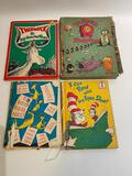 (S11K) VINTAGE DR SUESS CHILDREN'S BOOKS THIDWICK THE BIG HEARTED MOOSE, DR SUESS STORYTIME, HOP ON