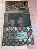 (S11K) 30 X 18 INCH RUBBER BACK WELCOME MATS HOME SWEET HOME DOORMAT RUG
