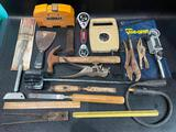 (S11K) ASSORTED TOOLS INCLUDING HAMMER, U JOINT NEEDLE ADAPTER, DEWALT RECIPROCATING SAW BLADES IN