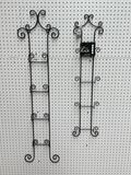 (S12L) MATCHING LARGE AND SMALL 4 TIER NARROW METAL WALL HANGING PLATE RACKS (TALLEST IS 50 INCH