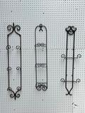 (S12L) HEAVY DUTY WROUGHT IRON WALL HANGING METAL PLATE RACKS (ONE HAS CONDITION ISSUES) RANGING