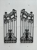(S12L) WROUGHT IRON ORNATE GARDEN GATE PANELS (EACH MEASURING 28 X 11 INCHES)
