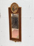 (S12L) GILT AND WOOD GESSO FRAME FRENCH TRUMEAU MIRROR WITH PORTRAIT OF BUXOM VICTORIAN LADY