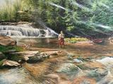 (S12L) THE POOL BY THE FALLS LIMITED EDITION PRINT BY ADRIANO MANOCCHIA (38 X 30 INCHES INCLUDING