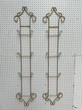 (S12L) GOLD TONE METAL VERTICAL WALL HANGING 4-TIER PLATE RACKS (54 HEIGHT)